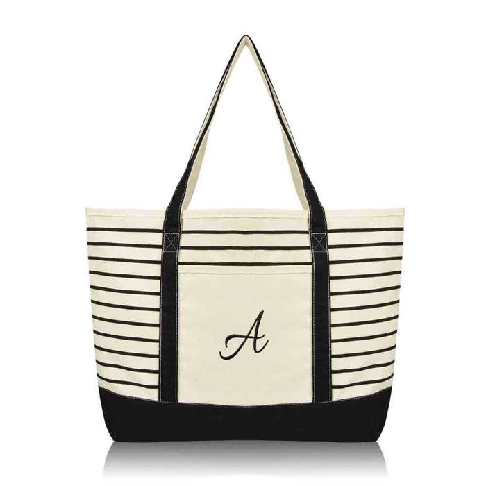 DALIX Striped A-Initial Tote Bag Womens Ballent Letter A