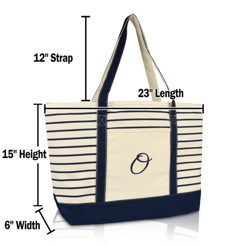 DALIX Striped O-Initial Tote Bag Womens Ballent Letter O