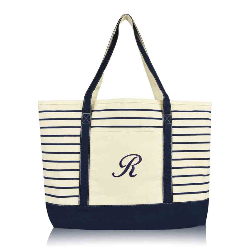 DALIX Striped R-Initial Tote Bag Womens Ballent Letter R