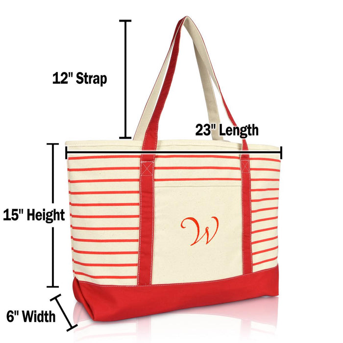 DALIX Striped W-Initial Tote Bag Womens Ballent Letter W