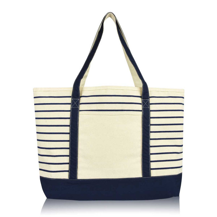 DALIX Stripe Tote Deluxe Shoulder Bag Cotton Canvas (Small, Medium, Large)