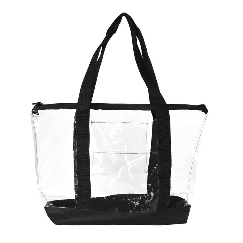 DALIX Clear Shopping Bag Security Work Tote Shoulder Bag Womens Handbag in Black Trim