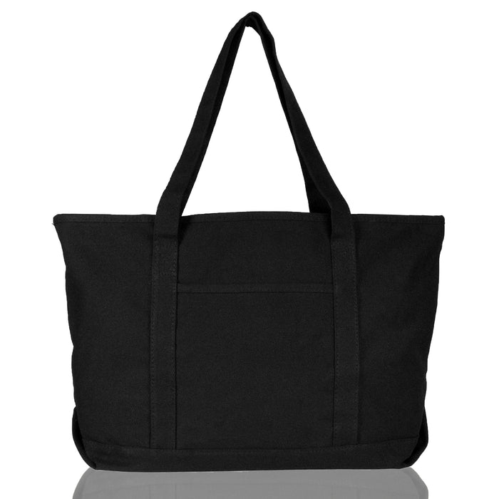 "DALIX Womens 23"" Deluxe 24 oz. Cotton Canvas Tote Bag Zippered in Black"