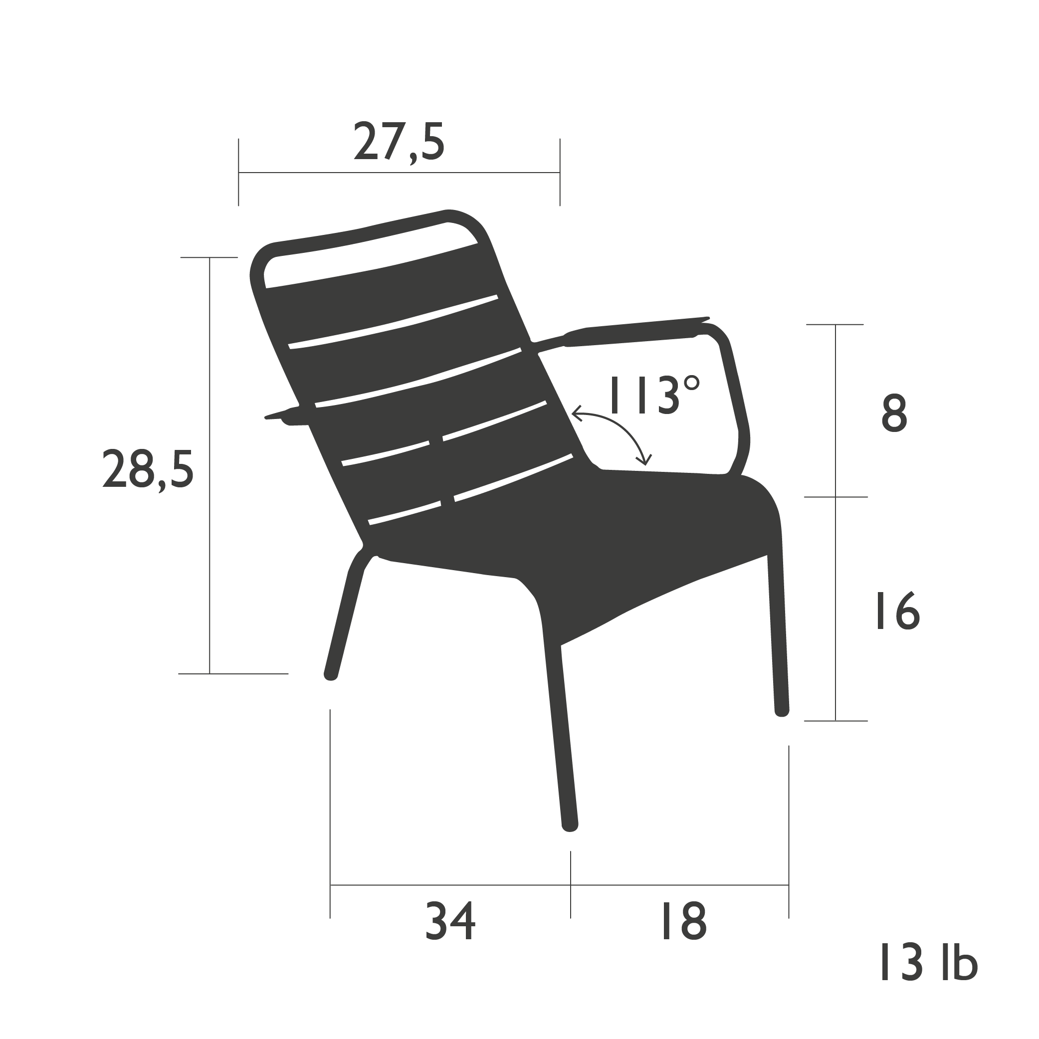 Fermob Luxembourg Low Armchair Dimensions