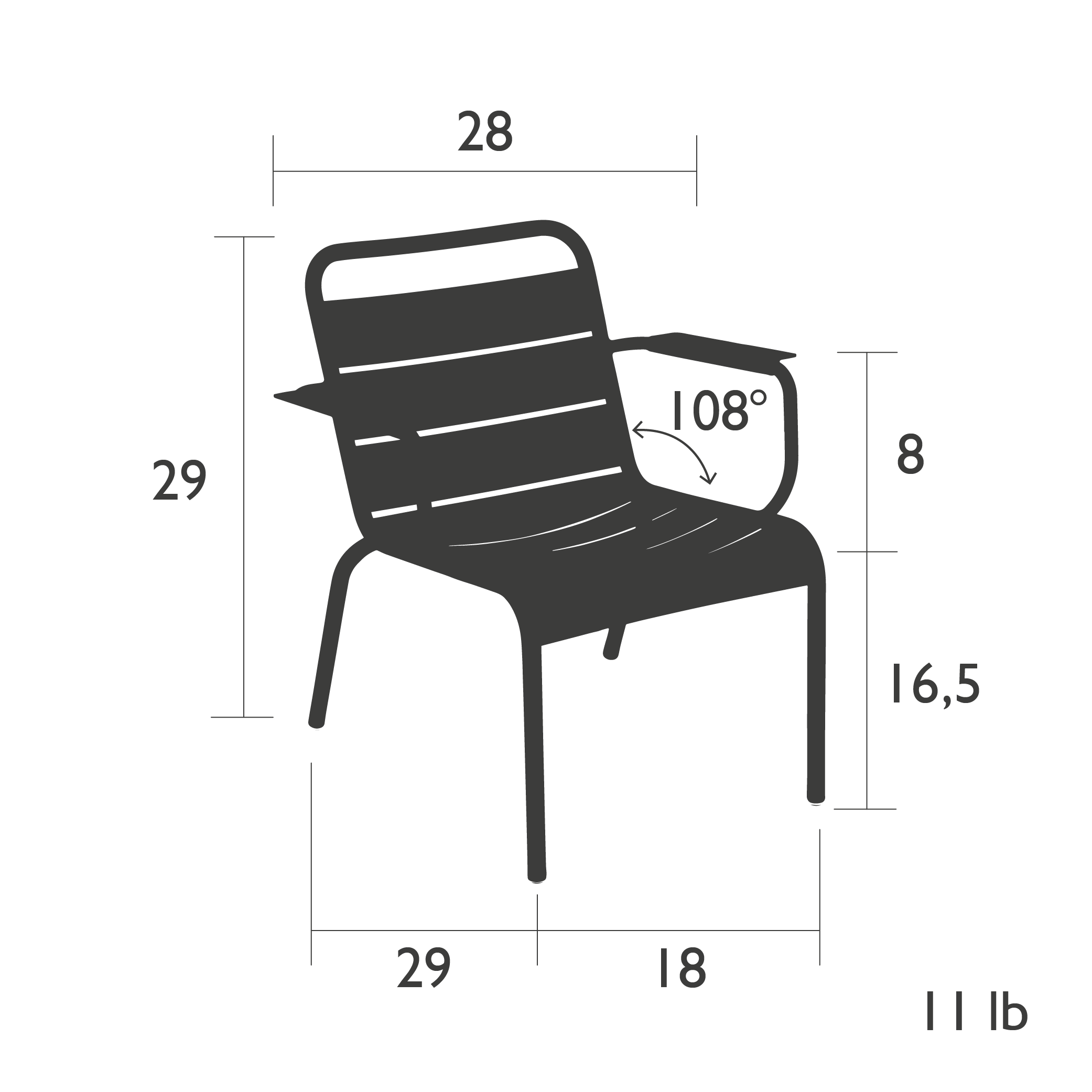 Fermob Luxembourg Lounge Armchair Dimensions