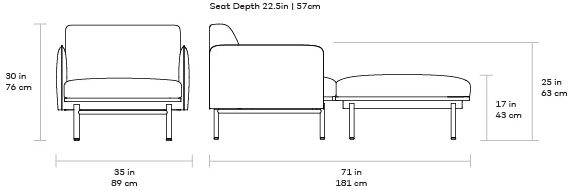 Gus Foundry Chaise dimensions