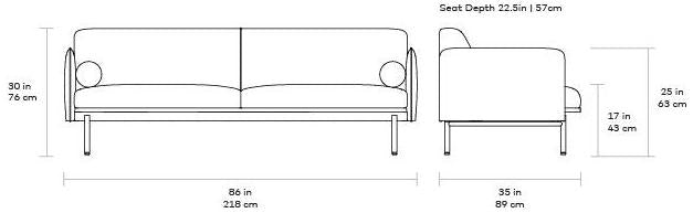 Gus Foundry Sofa dimensions