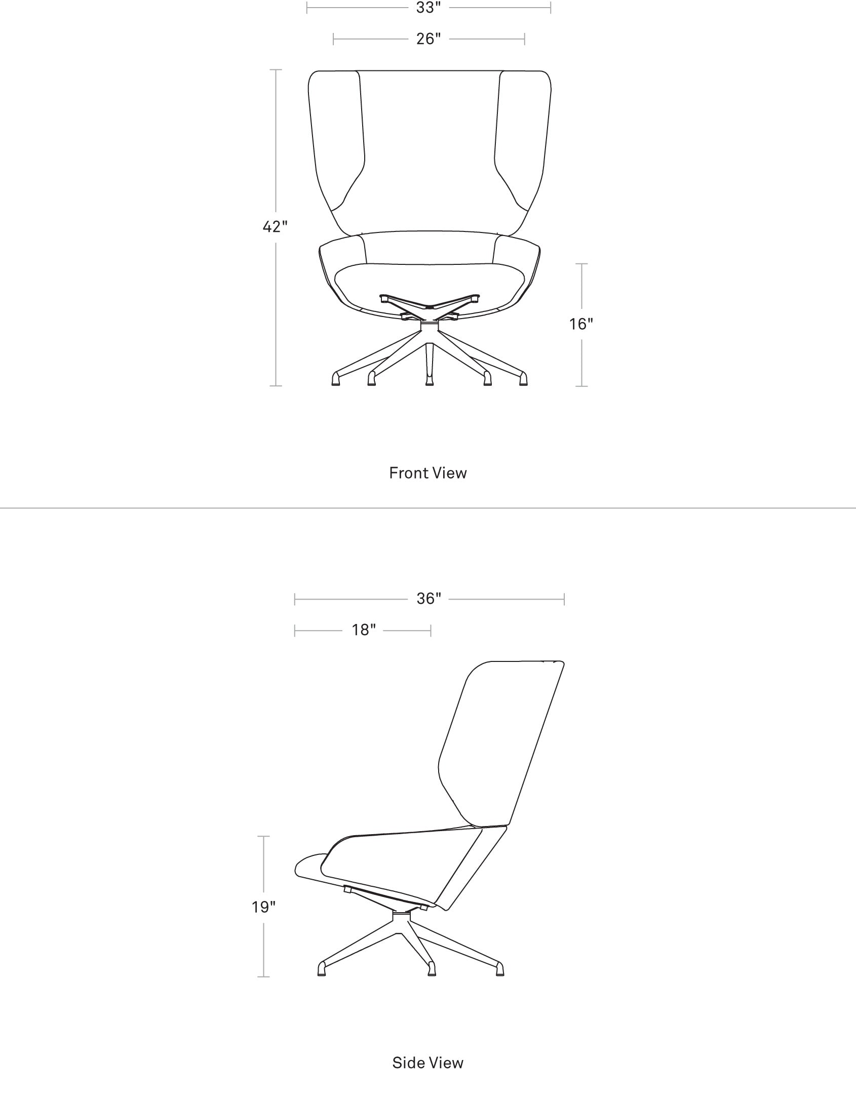 Heads Up Swivel Chair Dimensions