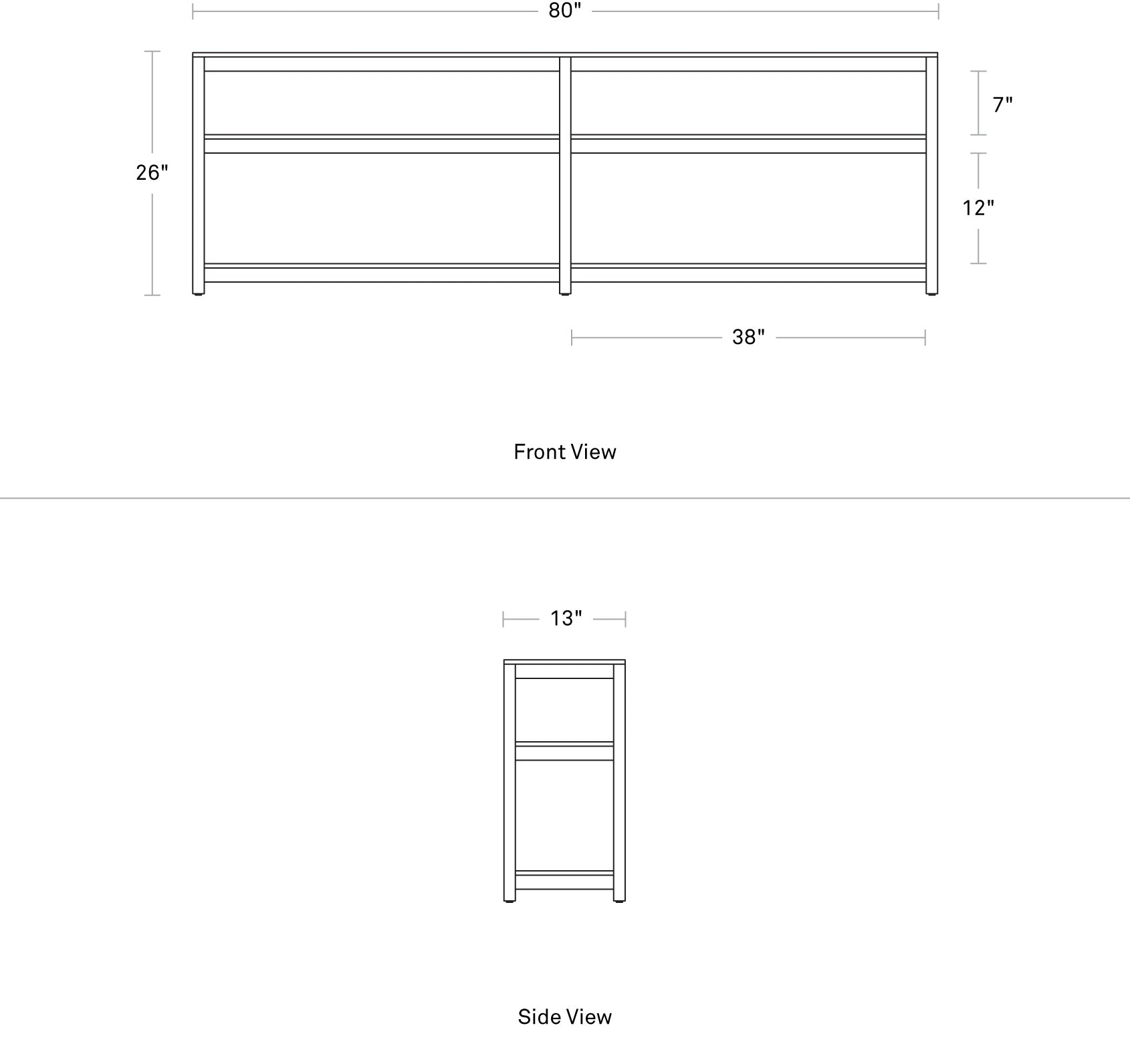 Blu Dot Open Plan Long and Low Bookcase Dimensions