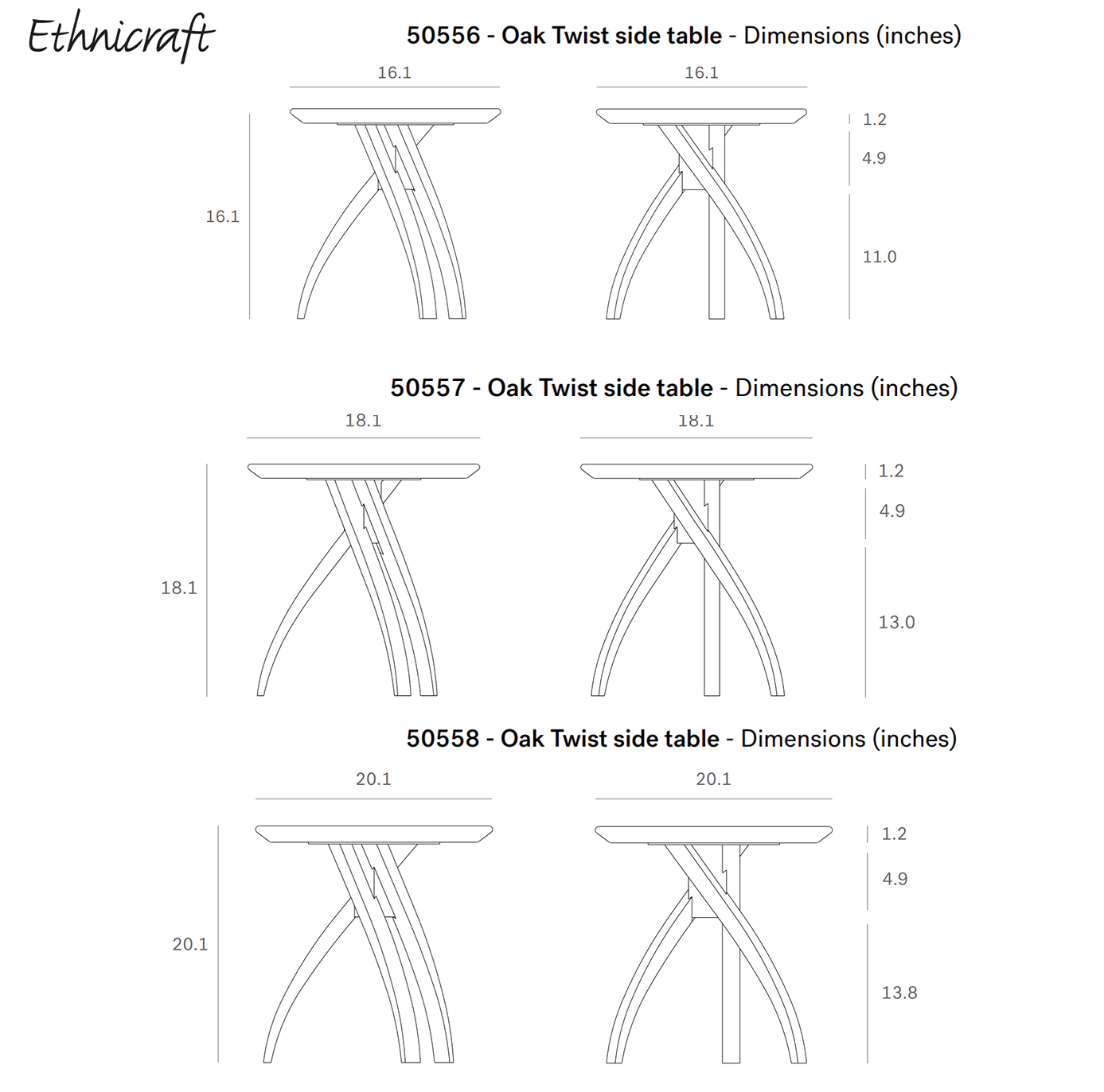 Ethnicraft Twist Side Table Dimensions