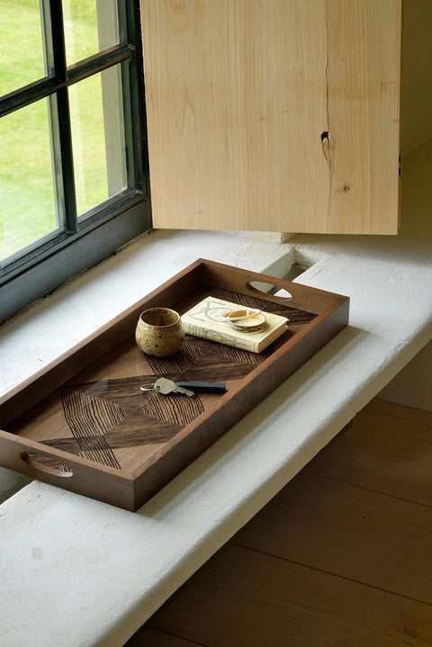 Walnut Linear Squares Rectangular Glass Tray