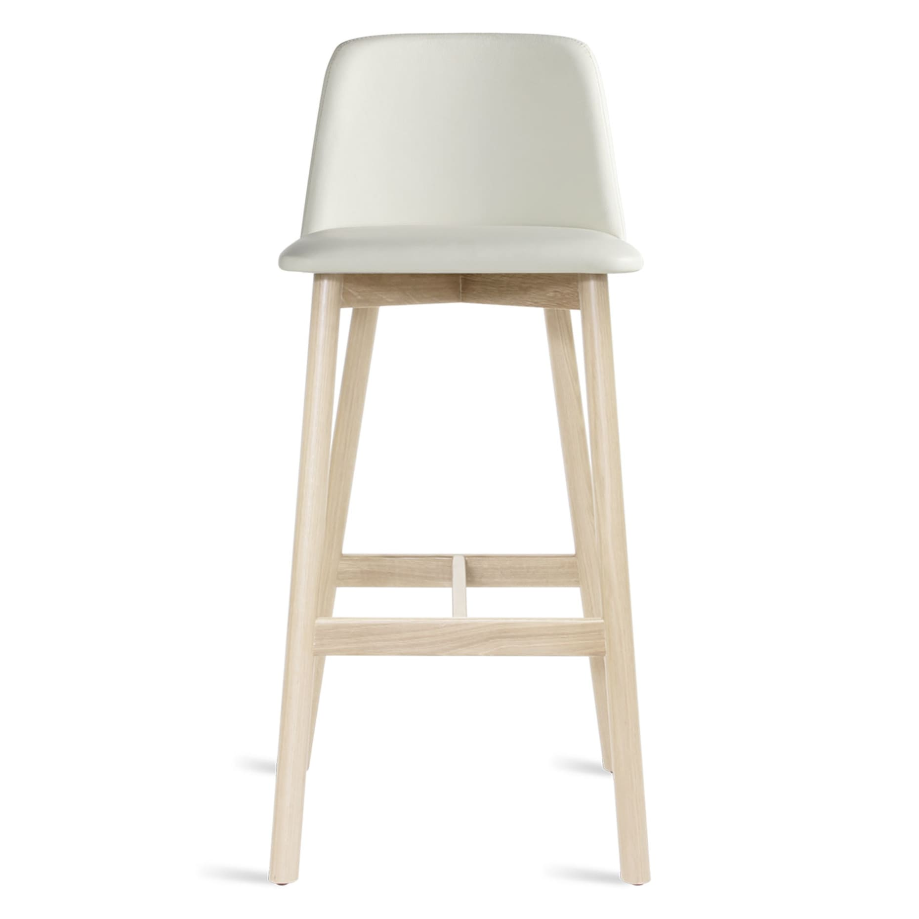 Blu Dot Chip Leather Bar Stool Barstool White