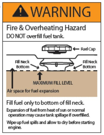 (786837) DECAL, FUEL FILL WARNING - G