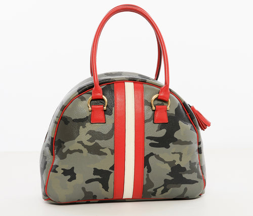 camo bowler bag, luxury purse, camo leather purse, camo with stripes purse