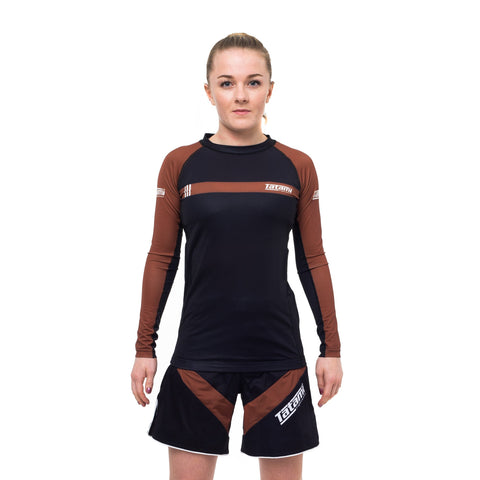 Ladies IBJJF 2020 Ranked Long Sleeve Rash Guard - Brown