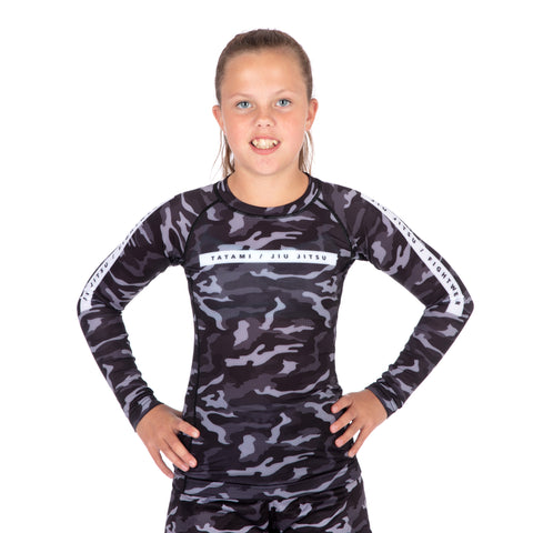 Kids Rival Black & Camo Long Sleeve Rash Guard