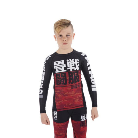 Kids Essential Camo Long Sleeve Rash Guard - Red