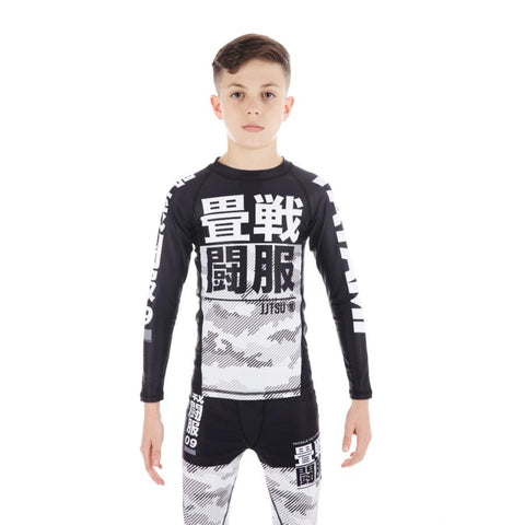 Kids Essential Camo Long Sleeve Rash Guard - White