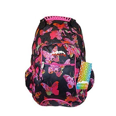 Ridge 53 Schoolbag Black with Butterflies