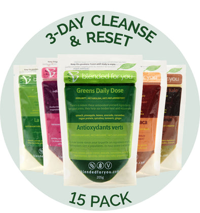 Blended For You Frozen Smoothie Blend - 3-Day Cleanse & Reset 15 Pack