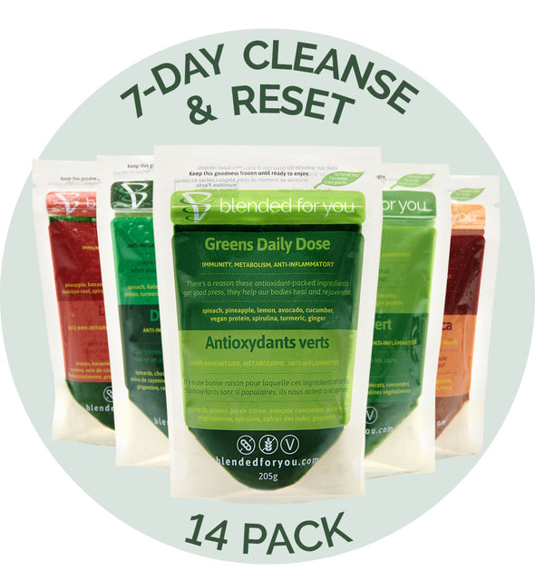 Blended For You Frozen Smoothie Blend - 7-Day Cleanse & Reset 14 Pack