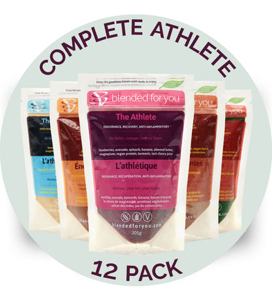 Blended For You Frozen Smoothie Blends - Complete Athlete Combo 12 Pack