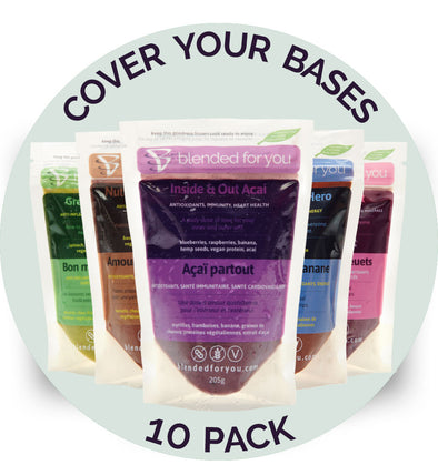 Blended For You Frozen Smoothie Blends -Cover Your Bases Combo 10 Pack