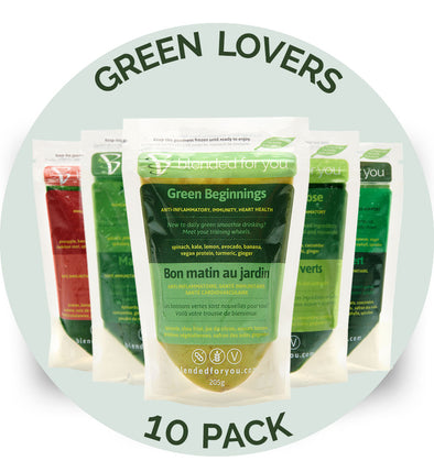 Blended For You Frozen Smoothie Blends - Green Lovers Combo 10 Pack