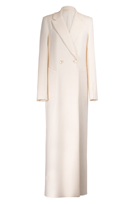 White Double-breasted Coat in Cashmere