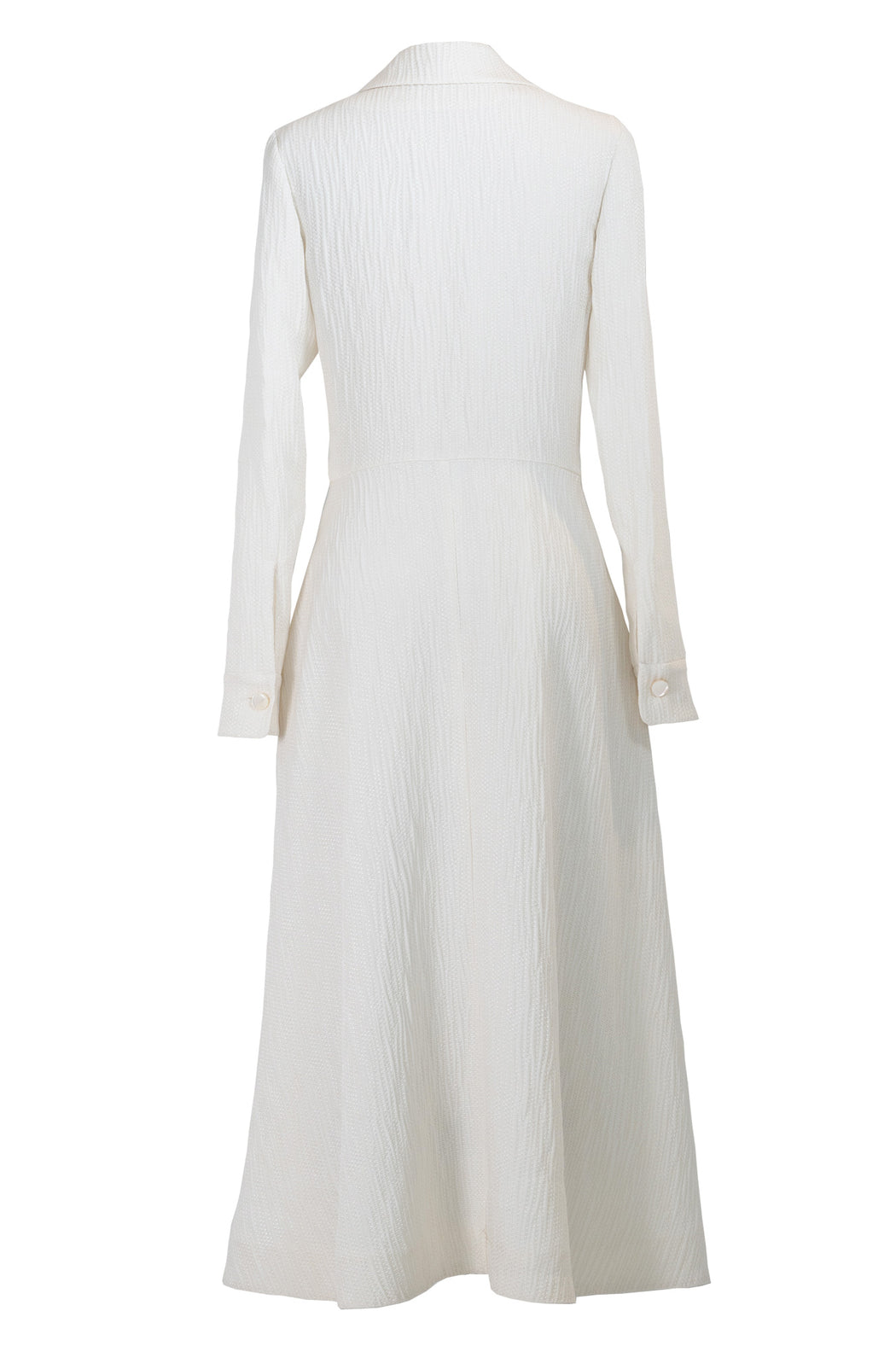 White Long Sleeve Dress In Silk
