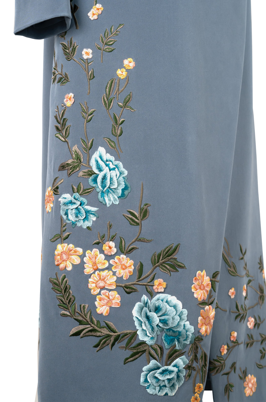 Embroidered Wrap Robe