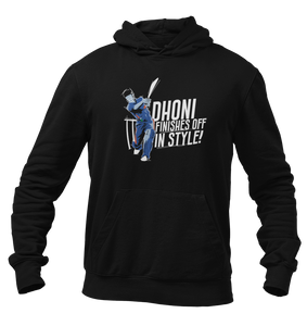 Dhoni Finishes Off in Style Navy Blue Unisex Hoodie