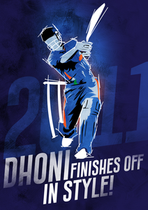 Dhoni Finishes Off in Style Poster - Mad Monkey