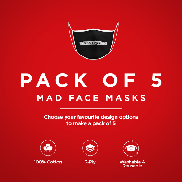 Pack of 5 Face Masks - ateedude
