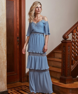 BLUE CHIFFON & LACE COLD SHOULDER DRESS