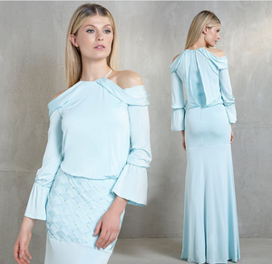 Aqua Blue Braided Long Sleeves Gown | Small |