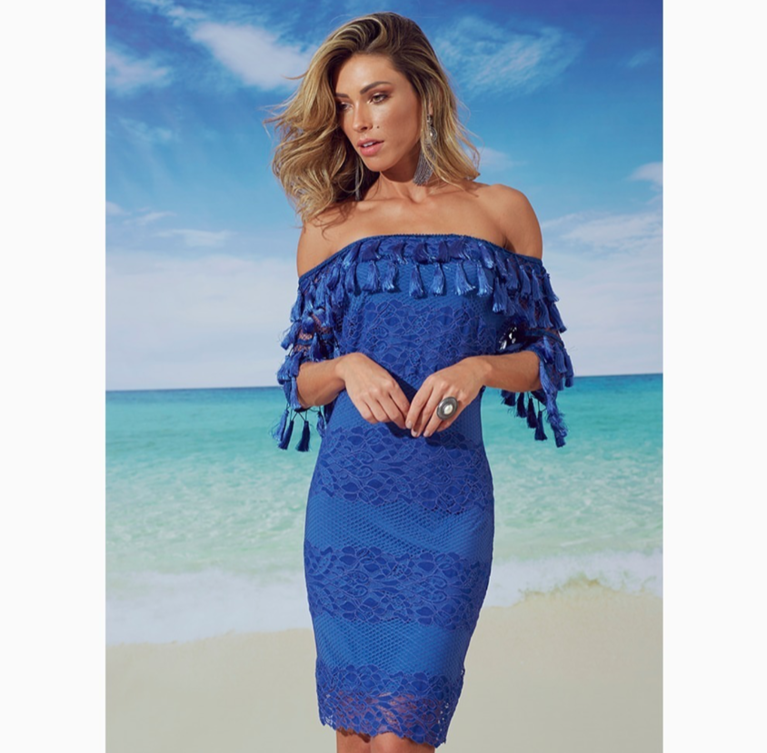 BLUE OFF SHOULDER LACE & TASSELS | Small |