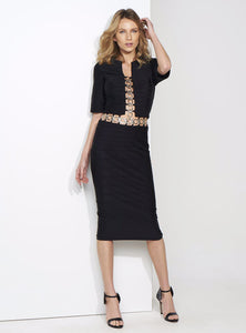BLACK BANDAGE MID DRESS / METAL RINGS DETAIL