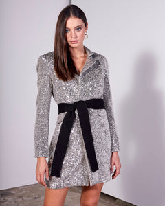 SILVER SMALL SEQUIN OVERSIZE BLAZER W/ POCKETS