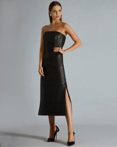 BLACK CROCODILE TEXTURE OFF SHOULDER DRESS