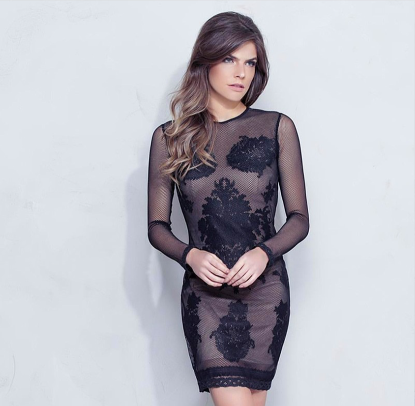 Black Sheer lace with nude slip | Medium |