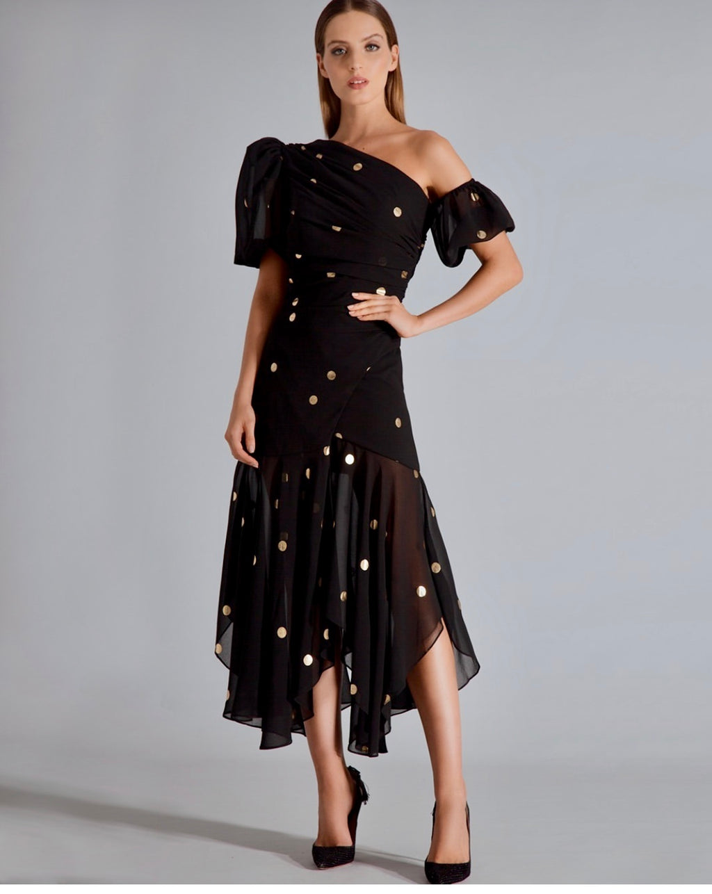 BLACK W/ GOLD POLKA DOTS MID DRESS W/ RUFFLES