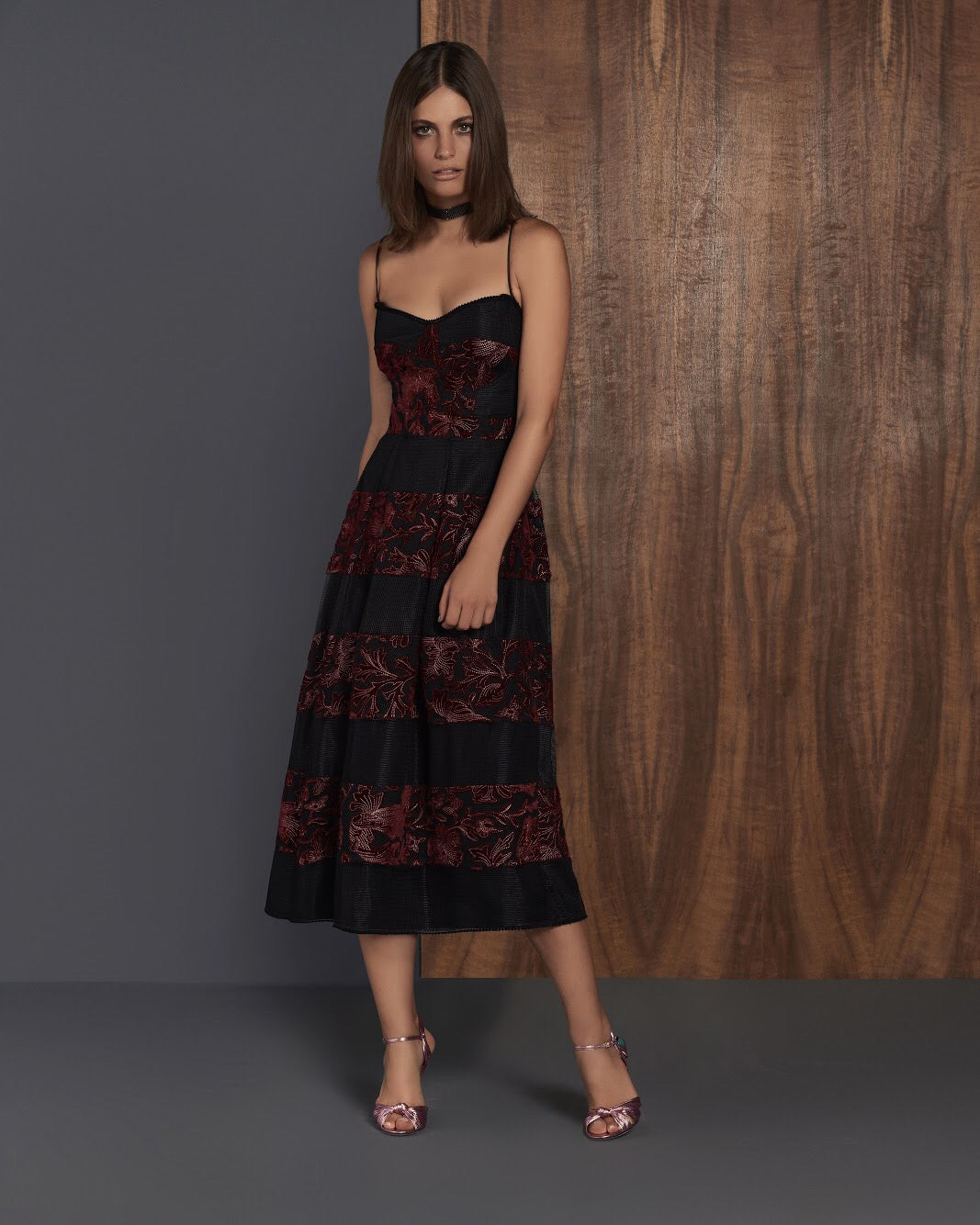 Black & Burgundy velvet and net dress