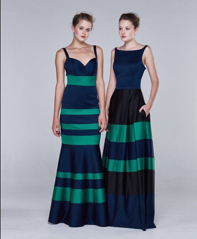 Navy & green gown