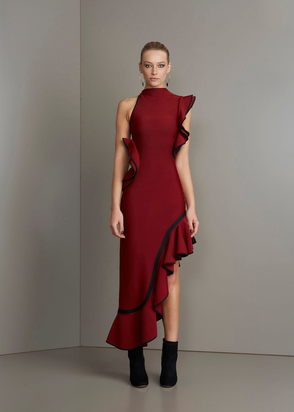 Burgundy & black ruffle bandage dress