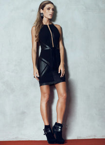 BLACK SHORT DRESS /VEGAN LEATHER DETAIL