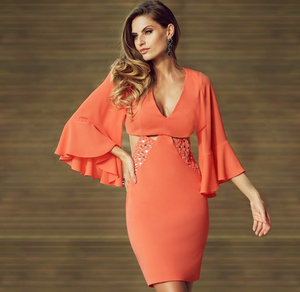 Orange Beaded Flare Sleeve Dress | Xtra Small |