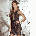BLACK LACE & MESH DRESS | Small |