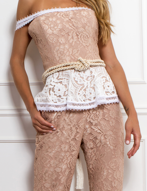 BLUSH & WHITE LACE JUMPSUIT | Medium |