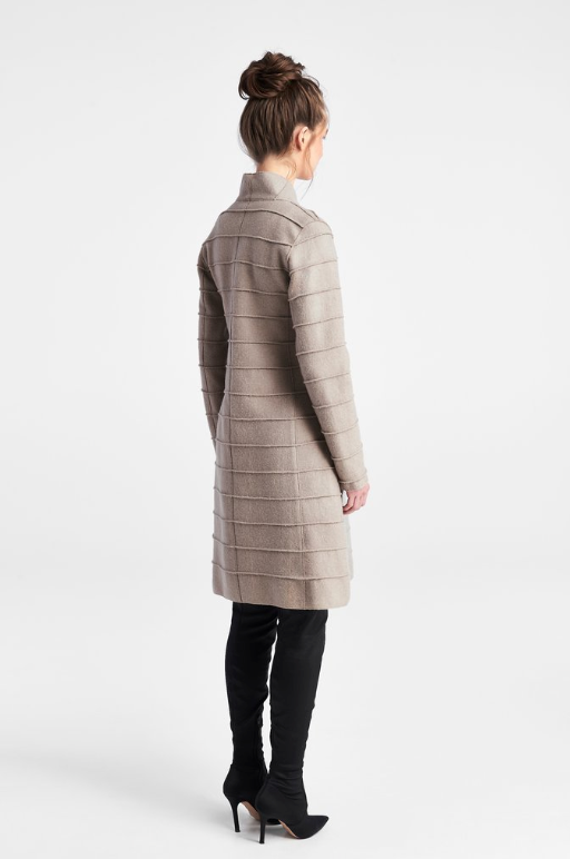 MID LENGTH COAT WITH RIBBED DETAIL